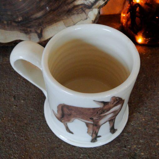 Overhead view of mug with fox design